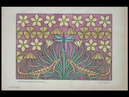 Литография Verneuil - Motif décoratif pour coussin ou bande
