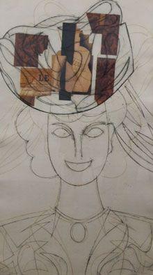 Офорт Valdés - Mujer con sombrero