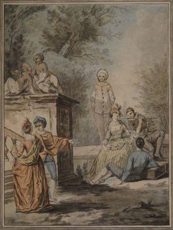 Акватинта Janinet - Nach Jean Antoine Watteau (1684-1721). Komödiantenszene