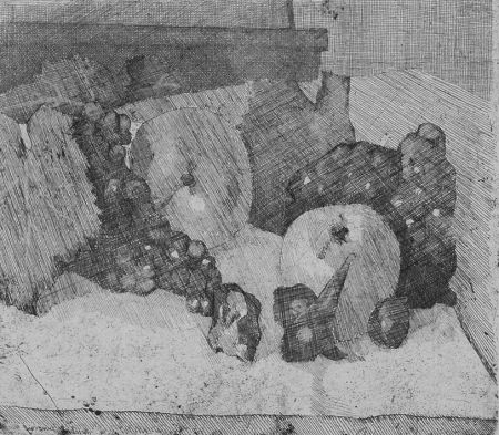 Офорт Barbisan - Natura morta con uva e fichi