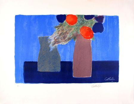 Литография Cathelin - Nature morte au fond bleu - Still Life on a blue background
