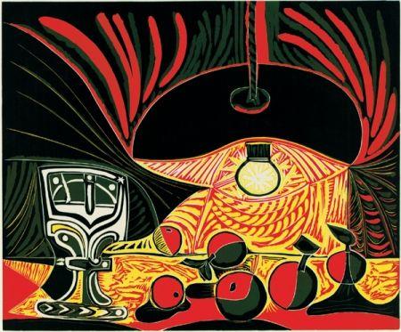 Линогравюра Picasso - Nature morte au verre sous la lampe