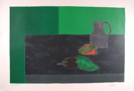 Литография Cathelin - Nature morte noire et verte aux poivrons - Still Life in black and green with peppers