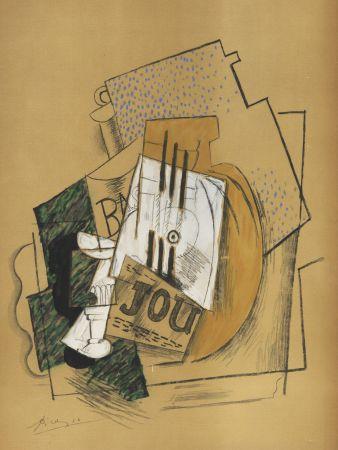 Трафарет Picasso - Nature Morte Papiers collés (1912) de l'album : Douze Contemporains par J. Lassaigne (1959)