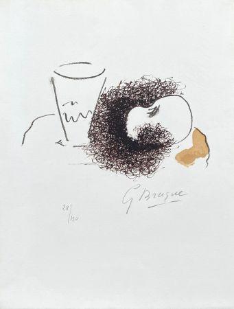 Литография Braque - Nature morte verre et pomme