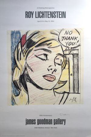 Литография Lichtenstein - 'No Thank You!' Hand Signed Exhibition Poster