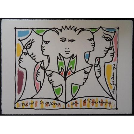 Литография Cocteau - Nous croyons l'Europe