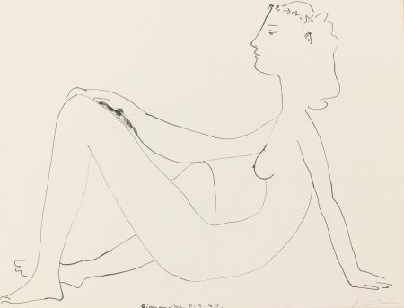 Литография Picasso - Nu assis, de profil