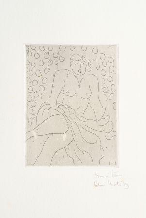 Гравюра Matisse - Nu drapé sur fond composé de cercles