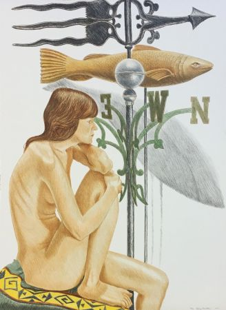 Литография Pearlstein - NUDE MODEL WITH BANNER AND FISH WEATHERVANE
