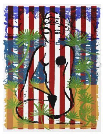 Сериграфия Szczesny - Nude on Red Stripes