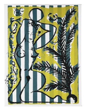 Сериграфия Szczesny - Nude with Palms on Green Stripes