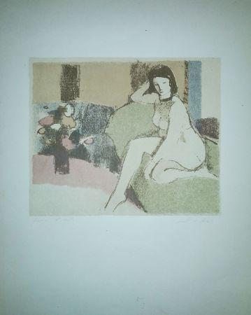 Литография Salvadori - Nudo sul divano