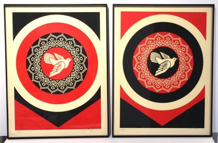 Сериграфия Fairey - Obey Dove Red & Black Set