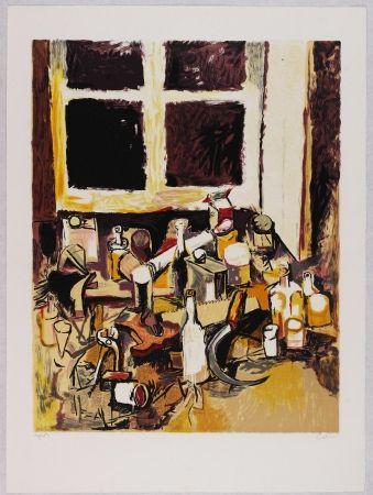 Литография Guttuso - Oggetti sul tavolo e finestra di sera
