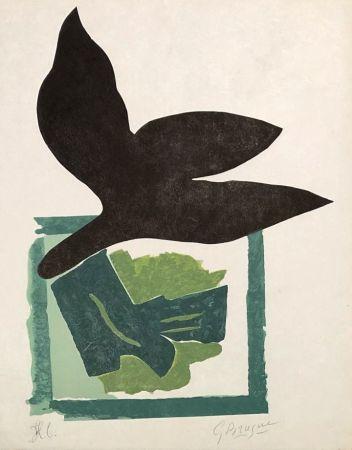 Гравюра На Дереве Braque - Oiseau noir sur fond vert