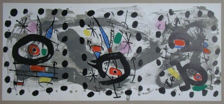 Литография Miró - Oiseau solaire, oiseau lunaire, étincelles