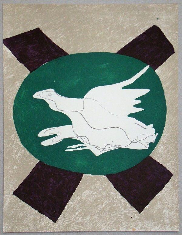 Литография Braque - Oiseau sur fond de X