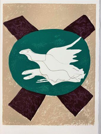 Литография Braque - Oiseau sur fond X