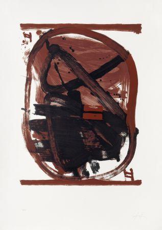 Литография Tàpies - Ovale rouge et noir