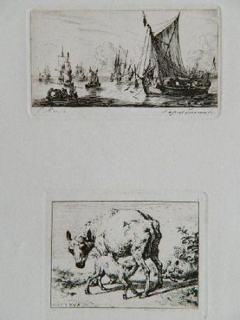 Гравюра Meryon - Pêcheurs de la mer du sud (after Zeeman) [with] La brebis et les deux agneaux (after Van de Velde)