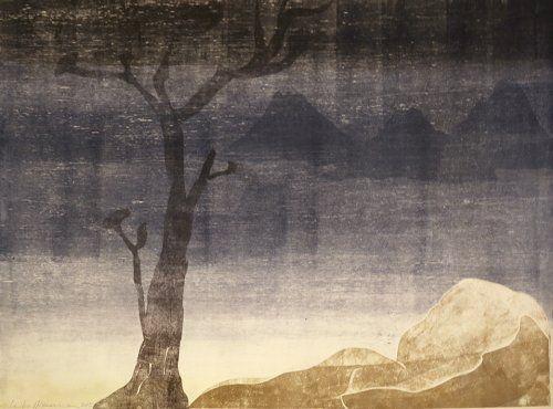Монотип Ikemura - Paisajes con el monte Fuji 15