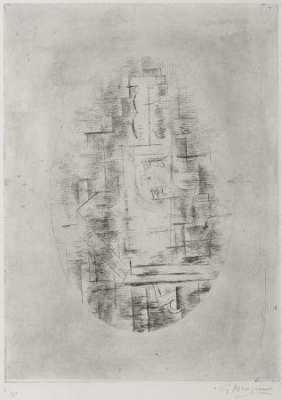 Гравюра Braque - Pal (Bouteille de bass et Verre sur une table)