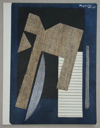 Трафарет Magnelli - Papier collé sur fond bleu, 1955