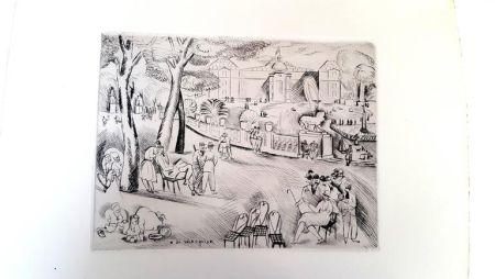 Литография Waroquier - Paris Jardin du Luxembourg