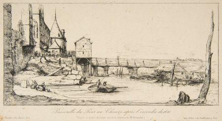Гравюра Meryon - Passerelle du Pont-au-Change, Paris, après l'incendie de 1621