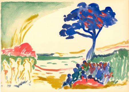 Трафарет Derain - PAYSAGE À L'ARBRE BLEU (1909) de l'album : Douze Contemporains par J. Lassaigne (1959)