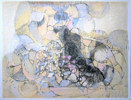 Литография Bolin - Paysage à la lumière grise et rose