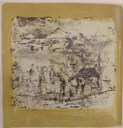 Литография Zao - Paysage à l'homme les mains levées