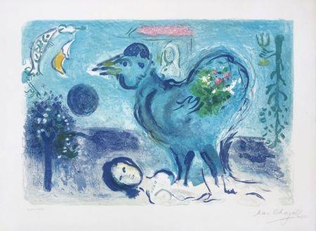 Литография Chagall - Paysage au coq