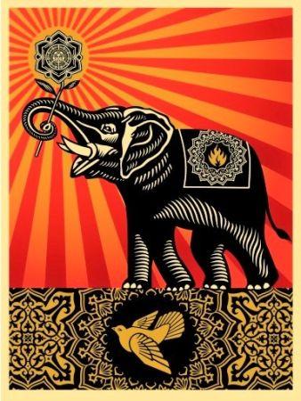Многоэкземплярное Произведение Fairey - Peace Elephant