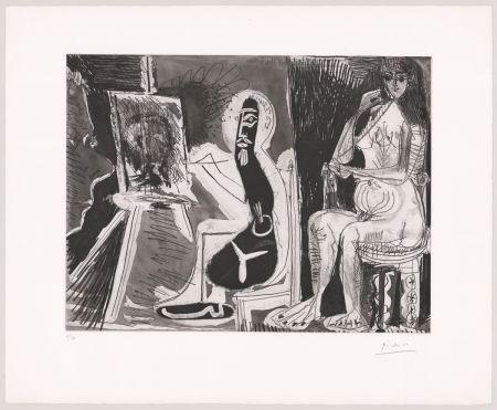 Офорт И Аквитанта Picasso - Peintre avec le portrait d'un jeune garçon, dans son atelier.