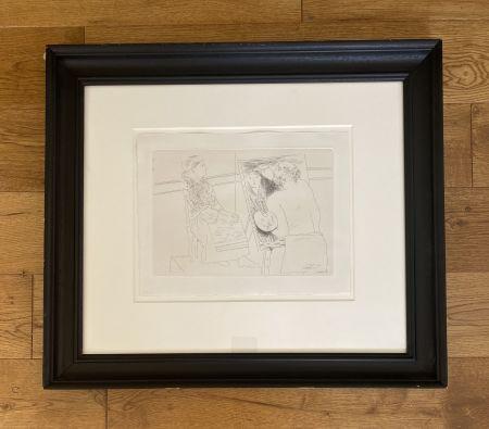 Гравюра Picasso - Peintre Chauve devant son Chevalet