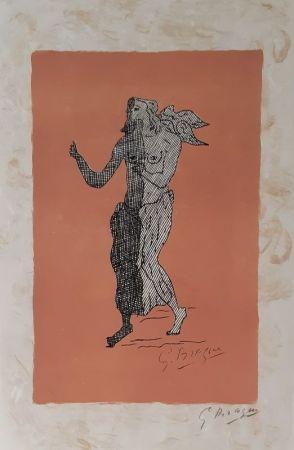 Литография Braque - Personnage sur fond rose