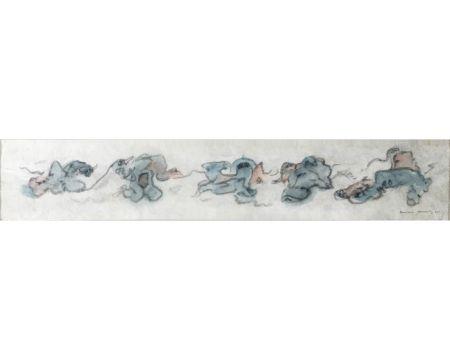 Нет Никаких Технических Tanning - PERSONNAGES. Aquarelle, crayon gras sur papier Japon nacré