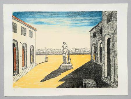 Литография De Chirico - Piazza d'Italia con efebo