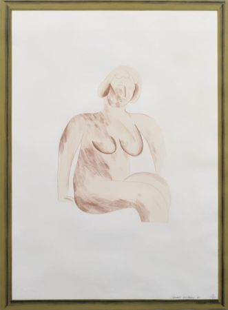 Литография Hockney -  Picture of a Simple Framed Traditional Nude Drawing