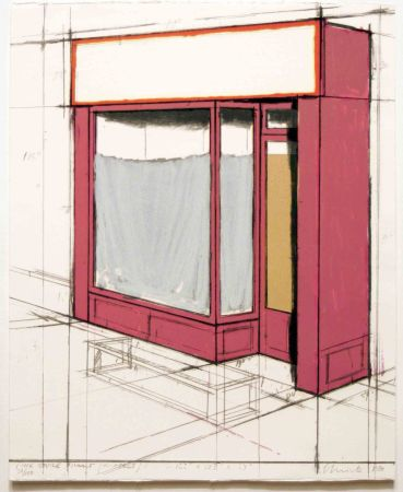 Литография Christo - Pink Store Front, Project from Marginalia