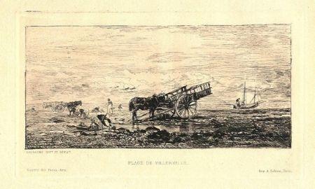 Гравюра Daubigny - Plage de Villerville
