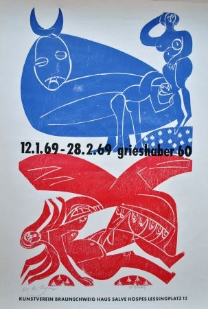 Литография Grieshaber - Plakat Braunschweiger Kunstverein 1969