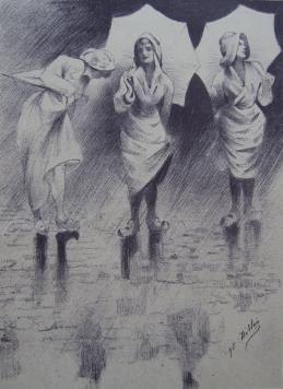 Литография Dillon - Pluviôse / Rainy