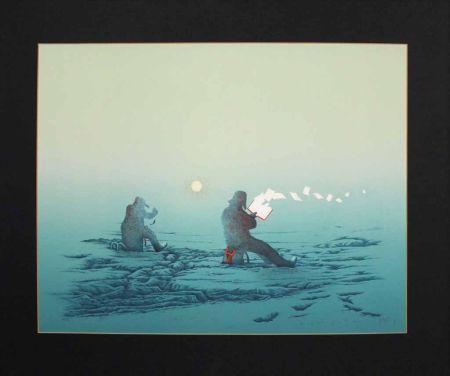 Литография Fanti - Poèmes inutiles (Lecteur de poésie dans la neige)
