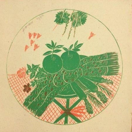 Литография Fassianos - Pommes et foulard
