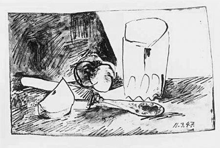 Литография Picasso - Pommes, Verre Et Couteau
