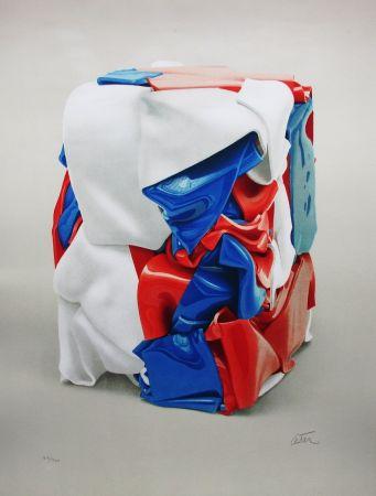 Литография Cesar - Portrait de compression bleu-blanc-rouge