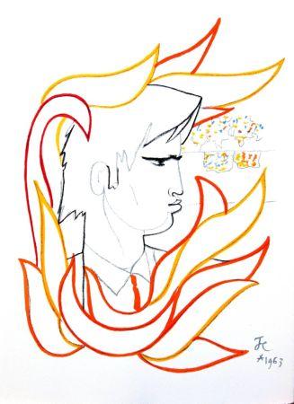 Литография Cocteau - Portrait de Feu